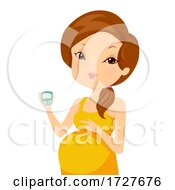 Girl Pregnant Woman Blood Sugar Test Illustration