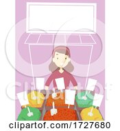 Girl Arab Spices Store Marketplace Illustration