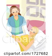 Girl Home Birth Midwife Illustration