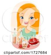 Girl Make Apple Cider Juice Illustration
