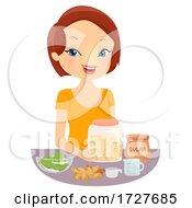 Girl Make Ginger Ale Drink Illustration