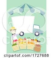 Girl Farmers Market Truck Board Illustration