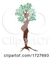 Poster, Art Print Of Woman Pregnant Tree Illustration