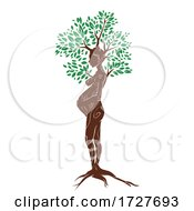 Woman Pregnant Tree Illustration