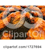 3d Orange And Black Topgraphical Cubic Envirnment Made Of Plastic Atoms