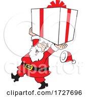 Cartoon Jolly Santa Claus Carrying A Large Gift