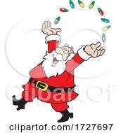 Cartoon Happy Christmas Santa Claus Juggling Lights