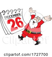 Cartoon Cheerful Santa Claus With A Day After Christmas Calendar
