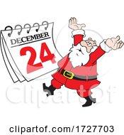 Cartoon Frantic Christmas Santa Claus With A Christmas Eve Calendar