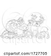 Christmas Santa Claus Feeding His Reindeer