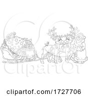 Christmas Santa Claus With His Reindeer And Sleigh