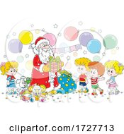 Poster, Art Print Of Christmas Santa Claus Giving Gifts To Children
