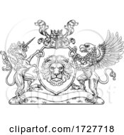 Coat Of Arms Crest Griffin Unicorn Lion Shield