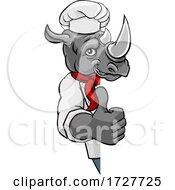 Rhino Chef Mascot Sign Cartoon Character by AtStockIllustration