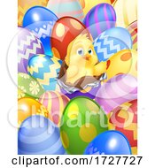 Easter Chick Eggs Background Cartoon