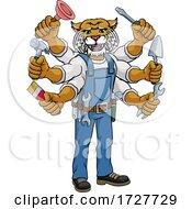 Poster, Art Print Of Wildcat Multitasking Handyman Holding Tools