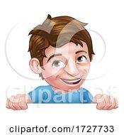 Poster, Art Print Of Boy Kid Cartoon Child Character Peeking Over Sign