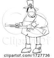 Poster, Art Print Of Cartoon Hunting Pilgrim Wearing A Mask Black And White