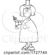 Cartoon Nurse Wearing A Face Mask And Holding A Pill