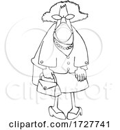 Cartoon Senior Lady Wearing A Mask