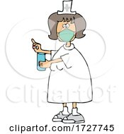 Cartoon Nurse Wearing A Mask And Holding A Pill