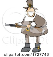 Cartoon Hunting Pilgrim Wearing A Mask