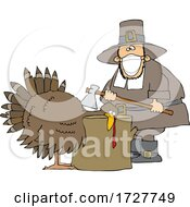 Cartoon Pilgrim Wearing A Mask And Butchering A Turkey