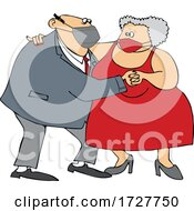 Cartoon Old Couple Wearing Masks And Dancing
