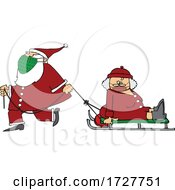 Cartoon Santa Wearing A Mask And Pulling Mrs Claus On A Sled
