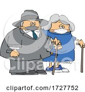 Cartoon Old Couple Wearing Masks And Walking With Canes