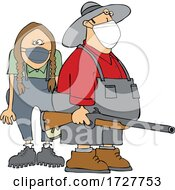 Cartoon Rednecks Wearing Masks