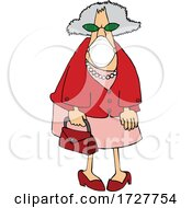 Cartoon Senior Woman Wearing A Mask