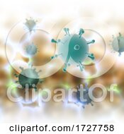3D Abstract Medical Background With Abstract Covid 19 Virus Cells Design