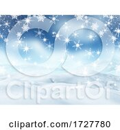 3D Christmas Landscape With Snow And Falling Snowflakes