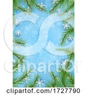 Border Or Menu Frame WIth Branches And Snowflakes