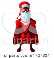 3d Super Hero Santa On A White Background