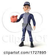 3d Police Man On A White Background