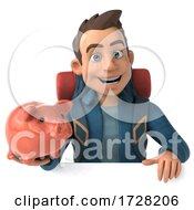 3d Backpacker Man On A White Background