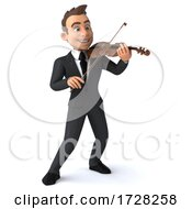 Poster, Art Print Of 3d White Businessman With A Violin On A White Background