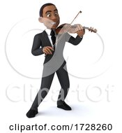 Poster, Art Print Of 3d Black Businessman With A Violin On A White Background