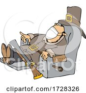 Cartoon Pilgrim Wearing A Mask And Napping In A Chair