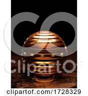 3d Futuristic Banded Copper Sphere In Dark Science Fiction Environment