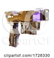 3d Science Fiction Futuristic Metallic Laser Weapon Blaster Pistol