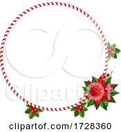 Candy Cane And Poinsettia Christmas Wreath