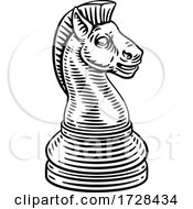 Knight Chess Piece Vintage Woodcut Style Concept