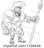 Poster, Art Print Of Spartan Gladiator Trojan Warrior Soldier Cartoon