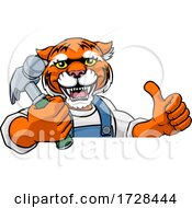 Tiger Carpenter Handyman Builder Holding Hammer