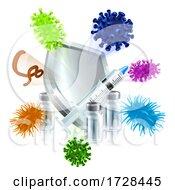 Poster, Art Print Of Vaccine Medical Syringe Vial Virus Shield Concept