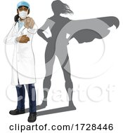 Doctor Woman Pointing With Super Hero Shadow