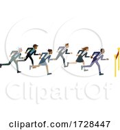 Business People Running Race Finish Line Concept